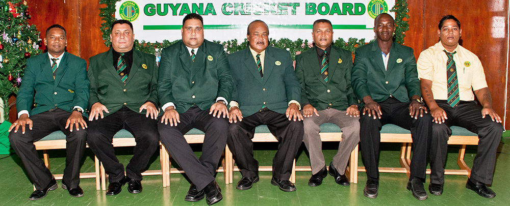 From left: Andy Ramnarine, Raj Singh, Anand Kalladeen, Fizul Bacchus, Anand Sanasie, Rayon Griffith and Virend