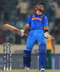 Virat Kohli lets out a cry after hitting the winning runs © ICC