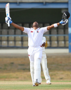 Kieron Pollard celebrates a ton in this second match back from injury © West Indies Cricket