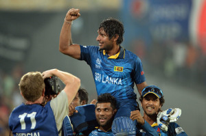 Kumar Sangakkara is carried around the field after winning the World T20 © ICC