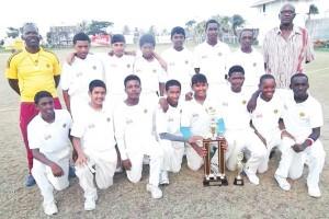 Igloo U-15 winners, Demerara display their trophy