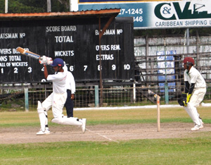 Man-of-the-Match Rudolph Singh in action yesterday during his innings of 97