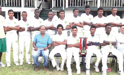 Members of the victorious Demerara team display their prizes. President of the DCB and Marketing Manager of the GCB Raj Singh in seated far right.