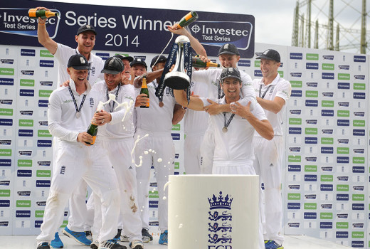 England celebrate with the winning trophy