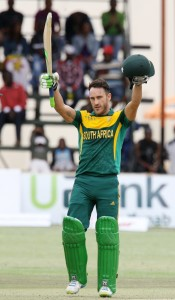 Faf du Plessis scored his third ton of the series © AFP