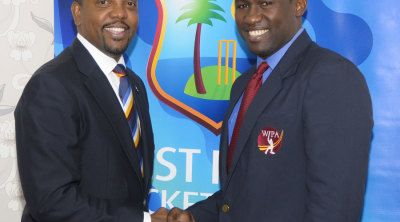Whycliffe Cameron, the WICB president, hailed the signing as the most important thing done for West Indies cricket in the past two years © WICB Media Photo/Randy Brooks