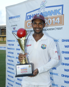 Denesh Ramdin poses after his first series win as captain © WICB Media Photo/Randy Brooks