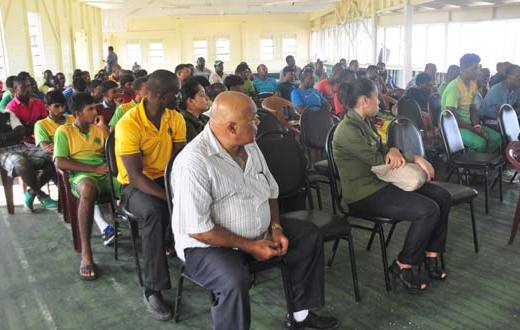 A section of the audience which attended yesterday's briefing on the soon-to-be-implemented franchise system for regional cricket, organised by the Guyana Cricket Board and held at the Everest Cricket Club pavilion.