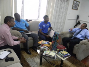 From left: GCB Secretary, Anand Sanasie, GCB Territorial Developmental Officer, Colin Stuart, WICB Senior Project Officer of School Cricket, KJ Singh, and Sports Minister, Dr. Frank Anthony