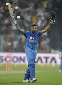 Rohit Sharma acknowledges the crowd after reaching his second double-hundred © BCCI