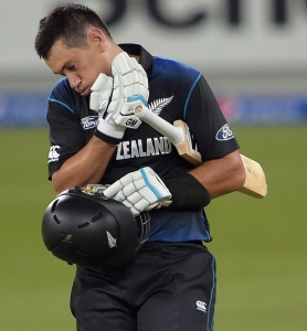 The ball that brought up Ross Taylor's ton also hit him on the neck  © AFP