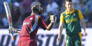 Andre Russell lets out a roar after leading West Indies to victory © AFP