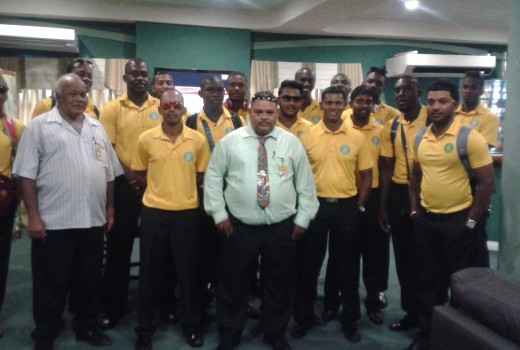 Guyana Jaguars team with the GCB President and Vice-President at the Cheddi Jagan International Airport