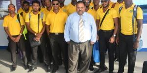 GCB President, Drubahadur, with Guyana Jaguars upon their arrival at the OIA