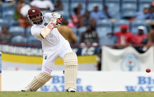 West Indies middle-order batsman Marlon Samuels cuts loose late in the day to finish unbeaten on 94