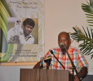 Legendary former West Indies batsman Alvin Kallicharran addresses the gathering