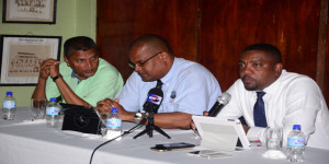From left to right: WICB Director Anand Sanasie, WICB vice-president Emmanuel Nanthan and president Dave Cameron (Photo by Adrian Narine)