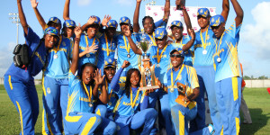 Winners Barbados celebrate with the trophy