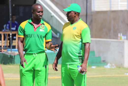Guyana Jaguars head coach, Esuan Crandon (right) with the Assistant Coach, Rayon Griffith