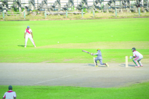 An Essequibo batsman on the attack