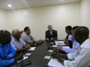 High Commissioner of Australia in Guyana, John Pilbean, in discussion with GCB Executives