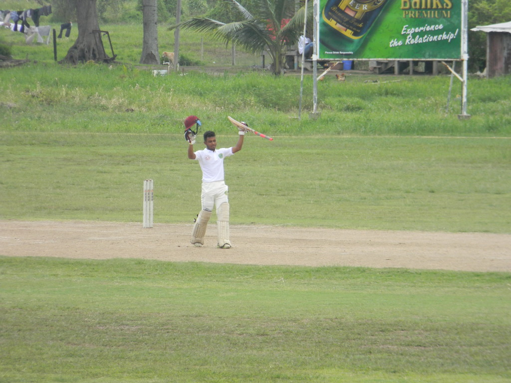 enaldo Renee acknowledges the crowd after scoring his century (165*) in Berbice vs Demerara match at Everest
