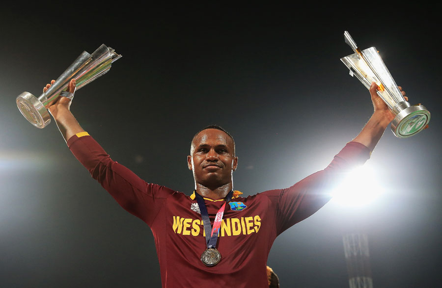 Who's the boss?: Player of the match Marlon Samuels soaks in the moment © Getty Images