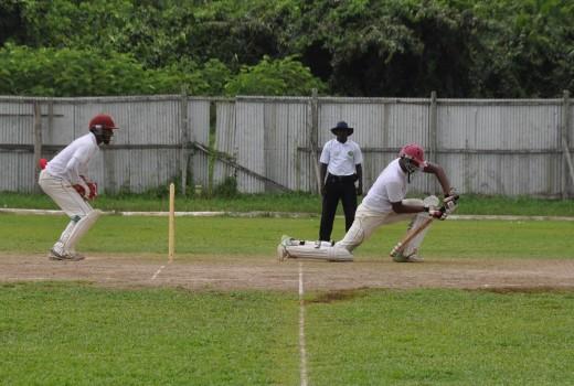 Bhaskar Yadram plays forward during his 177 against Berbice