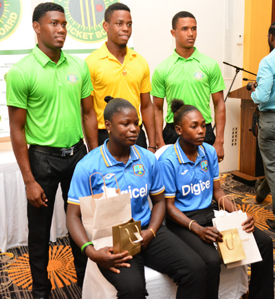 The under-19 players along with the Windies women always received awards (Marceano Narine photo)