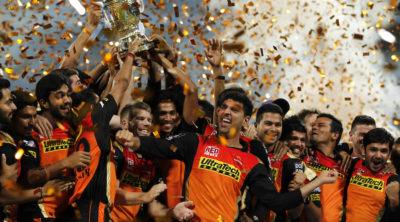 Sunrisers Hyderabad celebrate the win during the final of the Vivo IPL 2016 ( Indian Premier League ) between The Royal Challengers Bangalore and the Sunrisers Hyderabad held at The M. Chinnaswamy Stadium in Bangalore, India,  on the 29th May 2016  Photo by Deepak Malik / IPL/ SPORTZPICS