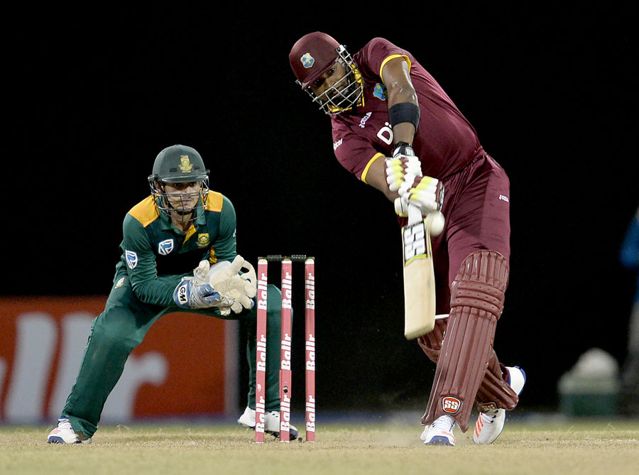 Kieron Pollard launches a six, West Indies v South Africa, ODI tri-series, 1st match, Providence, June 3, 2016