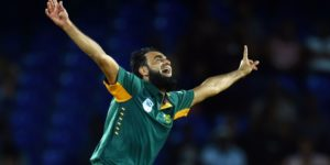 South African bowler Imran Tahir celebrates their victory after dismissing the last West Indeis batsman Sulieman Benn during the 6th One Day International match of the Tri-nation Series between West Indies and South Africa at the Warner Park stadium in Basseterre, Saint Kitts, on June 15, 2016. South Africa defeated the West Indies by 139 runs.  / AFP / Jewel SAMAD        (Photo credit should read JEWEL SAMAD/AFP/Getty Images)