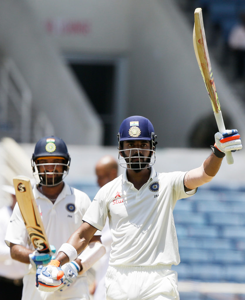 KL Rahul celebrates after reaching his third Test century, West Indies v India, 2nd Test, Kingston, 2nd day, July 31, 2016 ©Associated Press
