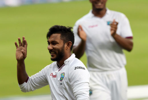 Devendra Bishoo is all smiles after his eight-for, Pakistan v West Indies, 1st Test, Dubai, 4th day, October 16, 2016 ©AFP