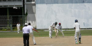Sachin singh plays one to leg during his 101 for Chase Academy