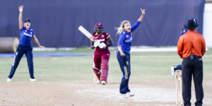 England Women's left-arm spinner Alex Hartley finished as the leading wicket-taker in the five-match series, with 13 dismissals© WICB Media/Athelstan Bellamy