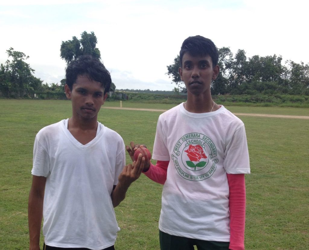 Arron Seepersaud (left) and Daneshwar Kowlessar (right) of West Demerara Secondary