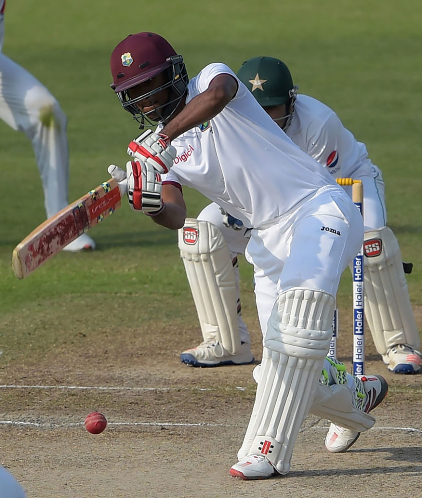 Kraigg Brathwaite comes out to meet the ball, Pakistan v West Indies, 3rd Test, Sharjah, 4th day ©AFP