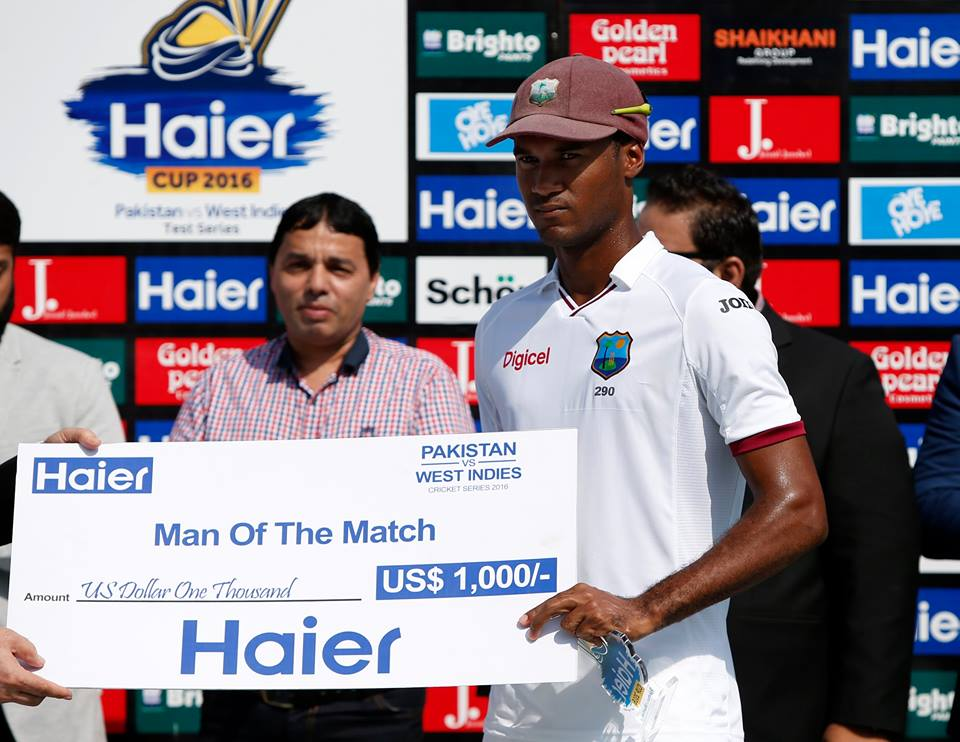 Kraigg Brathwaite becomes the first opening batsman to be not out in both innings of a match. He was man-of-the-match.