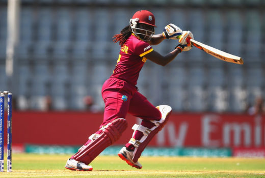 Stafanie Taylor, Captain of the West Indies hits the ball towards the boundary during the Women's ICC World Twenty20 India 2016 Semi Final match between New Zealand and West Indies at the Wankhede Stadium on March 31, 2016 in Mumbai, India.  (Photo by Matthew Lewis-IDI/IDI via Getty Images)