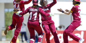 Deandra Dottin played a substantial role in West Indies' win with a rapid 35 and three wickets	© WICB Media/Athelstan Bellamy